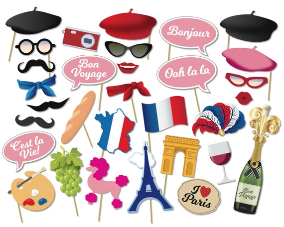 Printable Paris Party Photo Booth Props French Parisian Photo Etsy