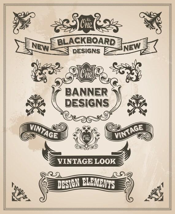Bandera vintage y cinta clip arte diseño conjunto bordes y | Etsy