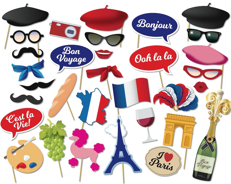 Printable Paris Party Photo Booth Props, French Parisian Photo Booth Props,  France Party, Hen Party, Instant Download - 0253 V2
