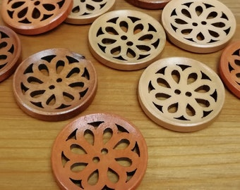 4pcs Length 46mm Horn Toggle Wood Button 4 color options Dark-brown to Ivory Sewing Accessories
