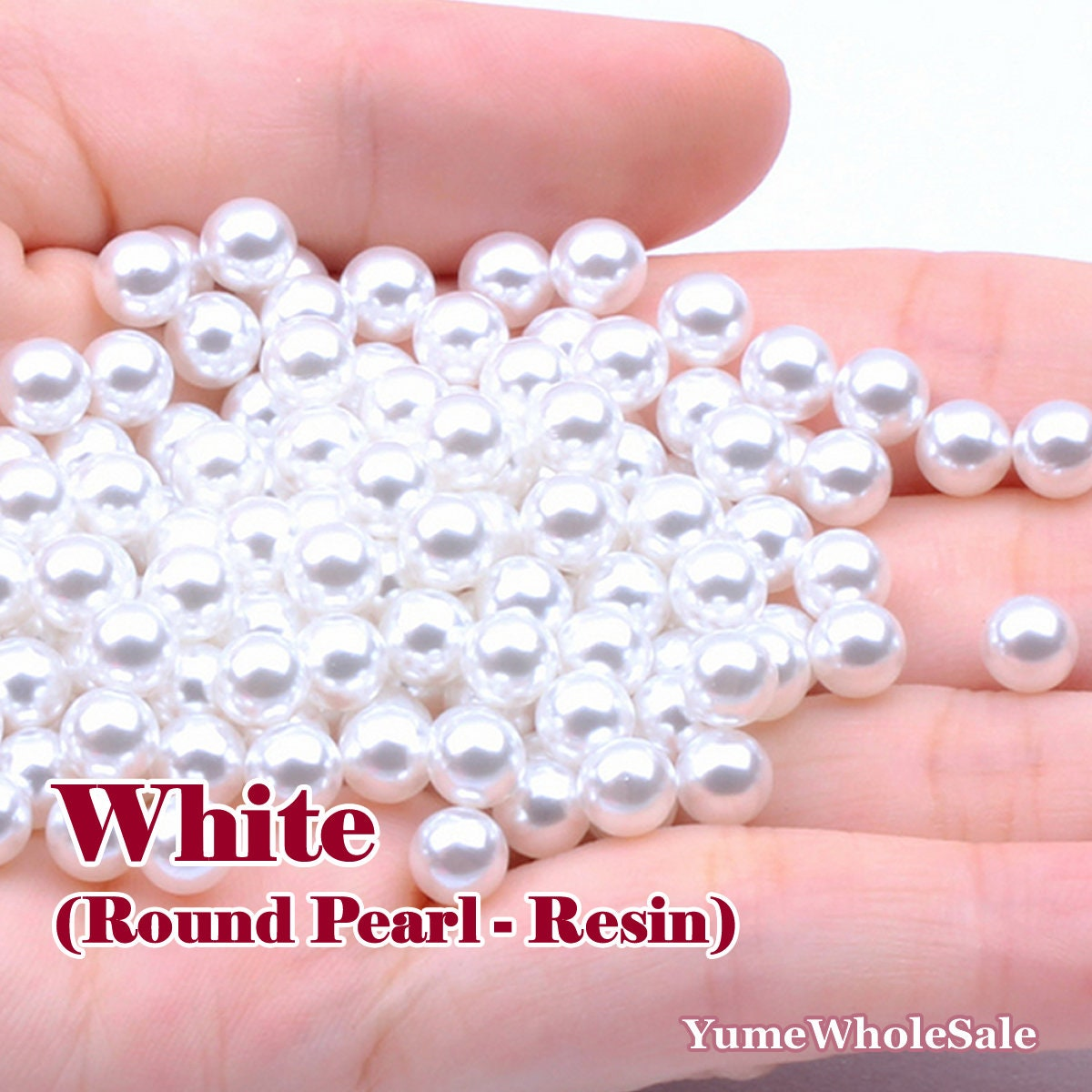 50 Pure White Half Pearl Bead 16mm Flat Back Scrapbook No Hole Cabochons Finding