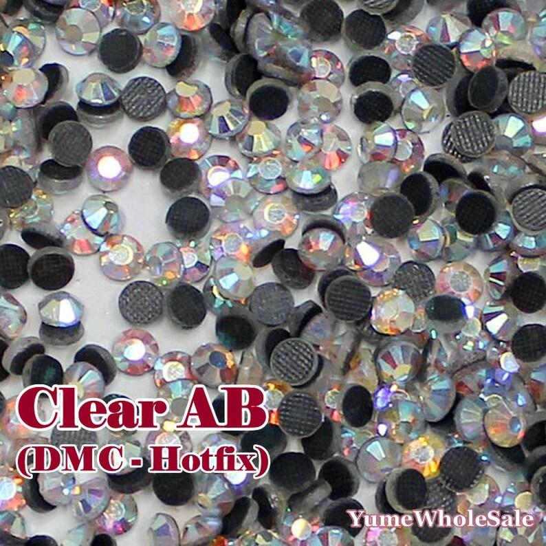 63e748b29f Clear AB (DMC Hotfix) Iron On (2mm-6.5mm) Glass Flat Back Rhinestones  Faceted Hot Fix Crystal ss6-ss30 (WHOLESALE) - 288/14400/144000pcs