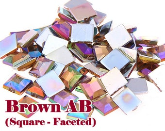 Brown AB (Square Shaped) Acrylic Faceted Flat Back Rhinestones Cabochon Deco Scrapbooking Nail Art Craft (WHOLESALE) - 4mm/6mm