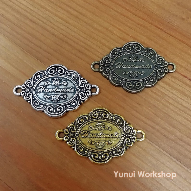 W41mm x L26mm Scalloped Oval Connector Label with word Handmade 3 antique color options Metal Accessory Parts 3pcs