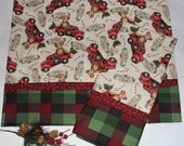 Queen Size Toy Bear Christmas Pillowcases, Toy Truck Christmas Pillowcases, Merry Christmas, Candy Canes, Red Green Check, Childs Christmas