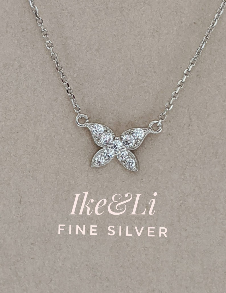 Butterfly 925 Sterling Silver Necklace  Layering Necklace  Dainty Trendy  Fashion Necklace  Gift for Her