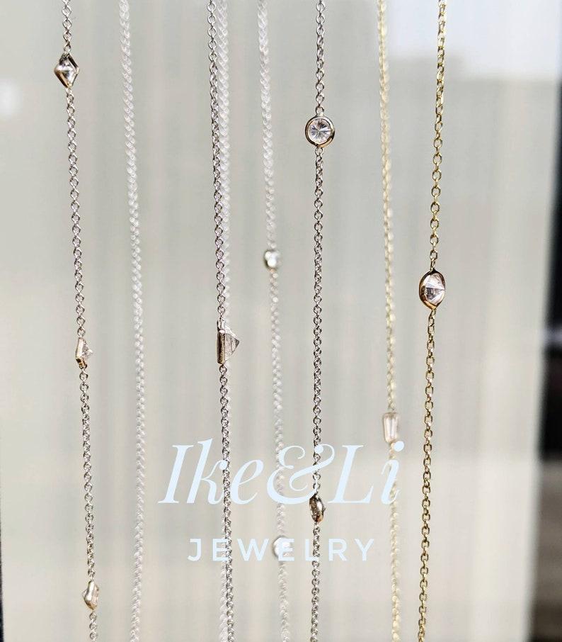 Marquise Cut Diamond Bracelet 14k Gold Floating Diamond BraceletDiamond AnkletLayering Bracelet Dainty Diamond Bracelet Channel Wire