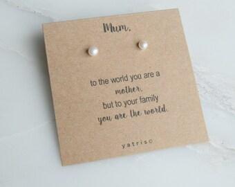 Mum Freshwater Pearl Earring Gift - Mum Gift - Gift For Mum - Mom Gift - Mothers Day Gift - Freshwater Pearl Earrings - Pearl Studs