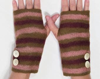Felted Fingerless Gloves - Brown, burgundy and Pink Felted Wool Gloves with Stripes
