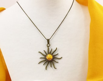 Sun pendant necklace Crystal rays Swarovski Yellow Ancient Bronze / Ancient silver astral rose boho chic