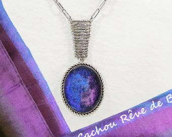 Table Table Star Galaxy Nebula Blue pink pendant Cabochon scale connector Cabochon glass hand-painted chain trombone steel