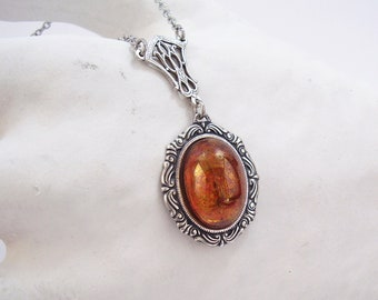 Victorian necklace Cabochon glass Amber Topaz Connector Art Deco Antique silver stainless steel