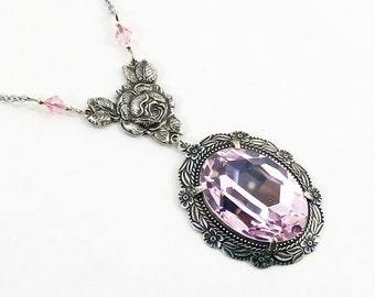 Necklace Roses Art Deco Crystal Swarovski Rosaline Floral Connector Roses Cable Chain Stainless Steel Antique Silver