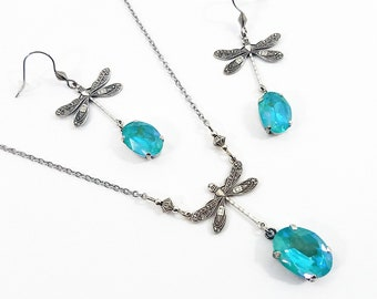 Necklace Pendant and Earrings Dragonflies Crystal Swarovski Oval Lagoon Turquoise Connectors Dragonflies Cable Chain Steel Silver