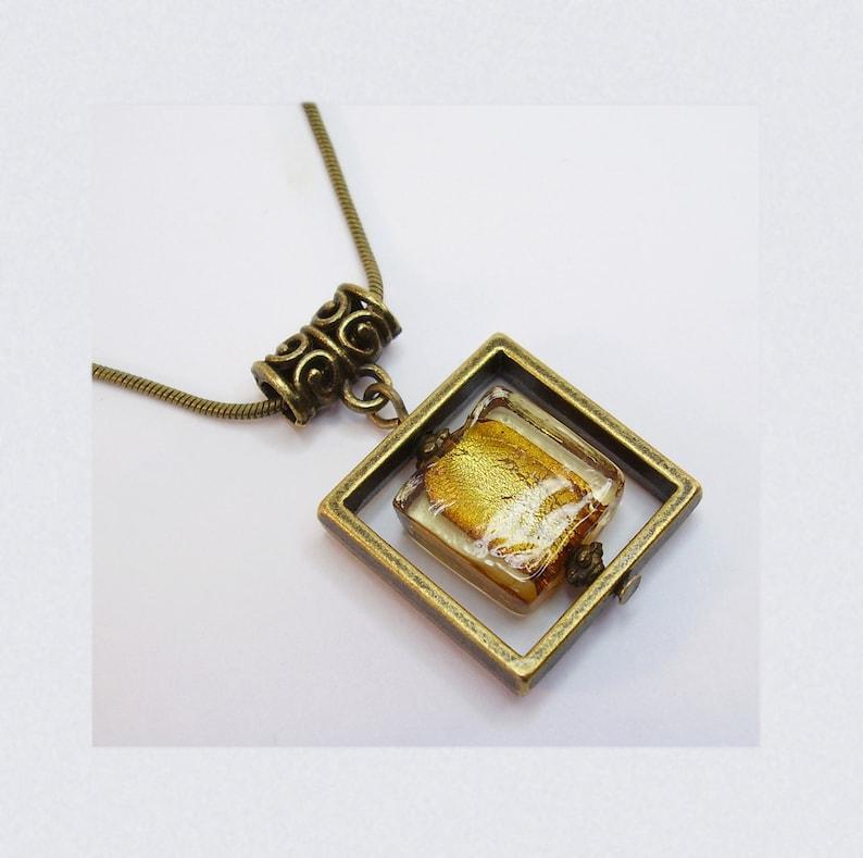 Hanging necklace Square Frame Pav\u00e9 Glass Gold Leaf Gold Topaz geometric shape Antique bronze metal OR Pav\u00e9 White Silver Metal