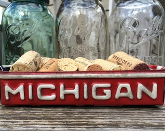 Upcycled vintage red Michigan license plate box, license plate tray, birthday gift, gift for mom, gift for dad, license plate craft, garage