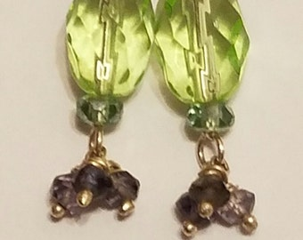 Sterling Silver 'Green & Me' Dangle Earrings, Green natural stone with light blue and purple crystals.