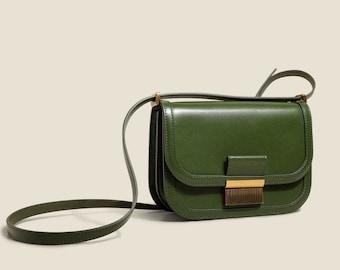 Small Vintage Spring Handbag for women/Leather Crossbody Shoulder Saddle Bag/Purse/Clutch bag/Tan Brown Black Green/Designer Bag/