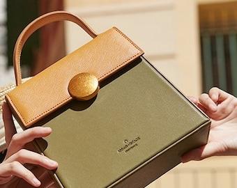 "Small/Mini ""Chestnut/Mandarin Tree"" Women Leather Vintage Crossbody Shoulder Top Handle Trapezoid Bag/Purse/Clutch bag/handbag for her"