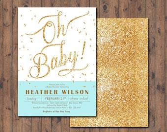 Gold Glitter & Auqa Baby Shower Invitation, Glitter Invitation
