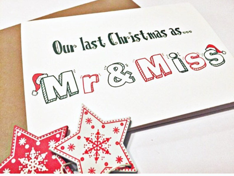 Last Christmas as Mr & Miss Card  Christmas Cards for Him image 0