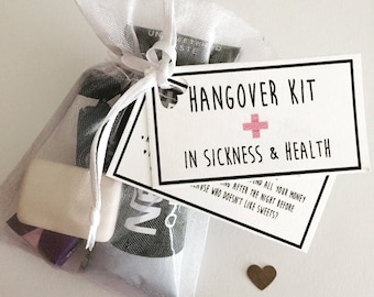 Hangover Kits, Survival Kits, Wedding Favours, Hen do gifts, Hen party Survival kits, wedding survival kits, bridesmaid gifts
