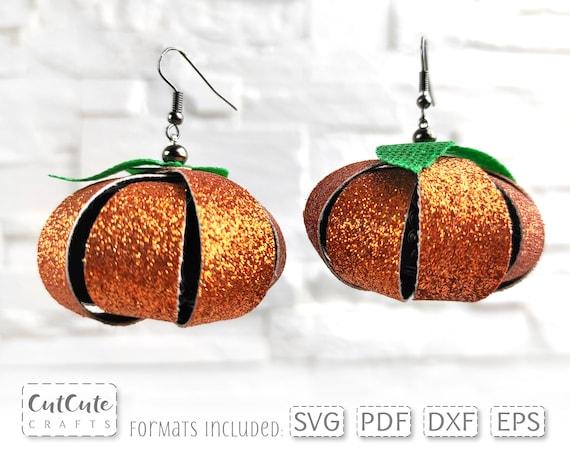 Earring SVG, Pumpkin Dangle Earrings svg, SVG cut file,Faux Leather Earrings template for Silhouette or Cricut