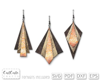Leather Earring SVG, stacked earring svg, SVG cut file, Geometric Layered Faux Leather Earrings template for Silhouette or Cricut
