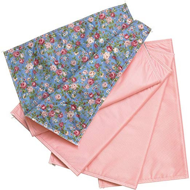 4 PK Washable Bed Pad Floral Print with Pink VinylChair Pads Incontinence Underpad Mattress Protector 17 X 24