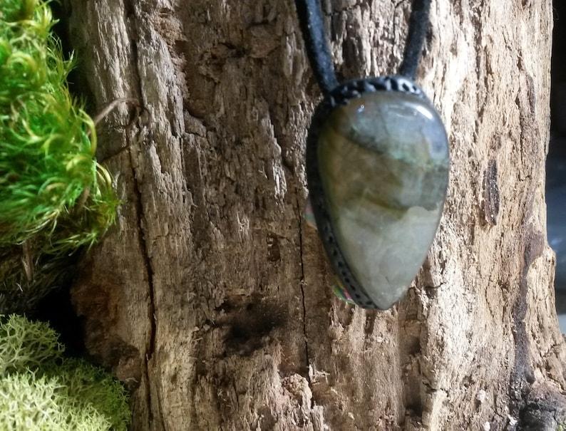 LABRADORITE cabochon handmade protection amulet talisman pendant rectangular shape good fire 137