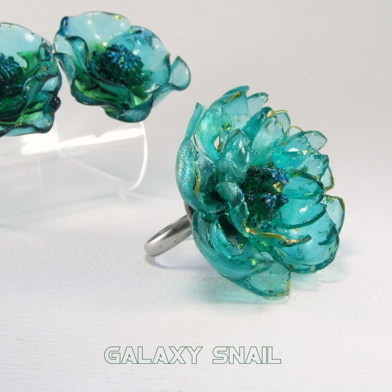 Jewelry Set Ring  Earrings  The Mermaid Flowers  Size Ring adjustment 4 US 8 US