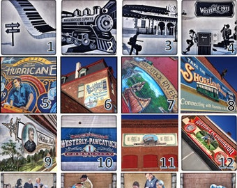 WESTERLY PAWCATUCK MURALS Photo Coasters: Wedding gift//  Bridesmaid gift// Valentine's Day gift// Housewarming gift// Set of 4