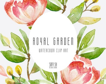 Hand Painted - Royal garden - Watercolor floral clipart - Isolated elements - Flourish, peony, flowers, romantic, wedding, country, leaves