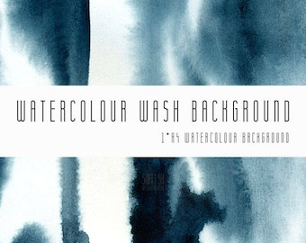 Watercolour Wash Background Digital Paper. A4, printable, Indigo, free commercial use