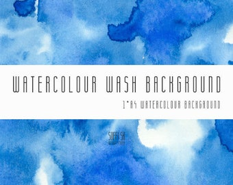 Watercolour Wash Background Digital Paper. A4, printable, Blue, free commercial use