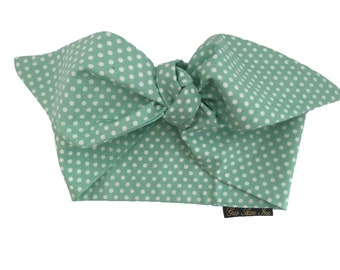 50s Rockabilly Mint Green Polka Dot Head Scarf Tie 42921d872515d