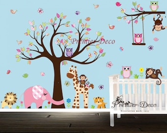 Forest Tree Animals, Cute Owls , Butterfly, Giraffe,Lion,Monkey Nursery baby  room Wall Decal , Removable wall sticker