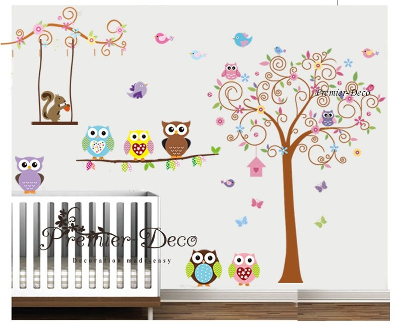 Scroll tree Cute Animals Owl Squirrel Flower Removable Vinyl Wall Sticker