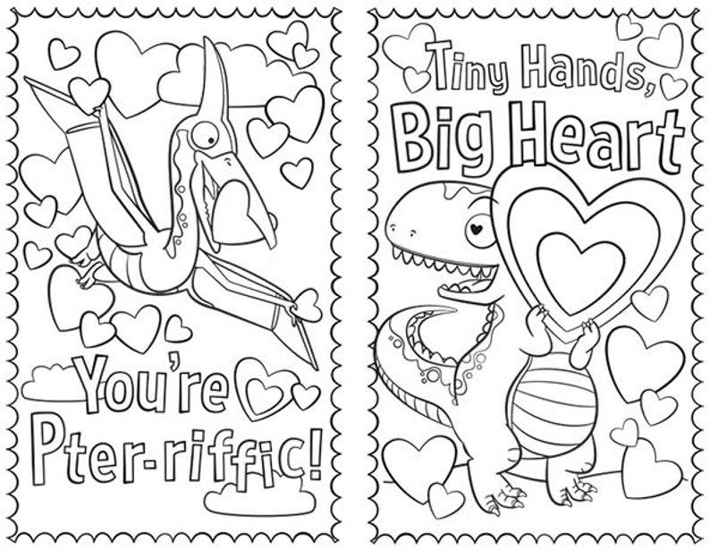 Dinosaur Coloring Printable Valentines  Set of 4 image 0