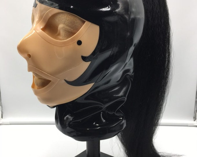Size MEDIUM The Paris with ponytail Latex Hood