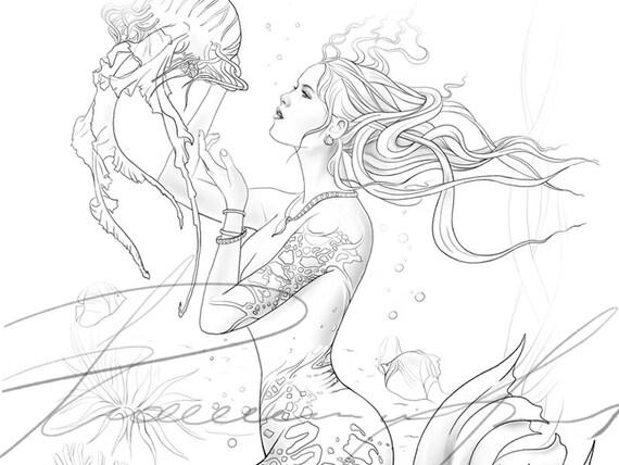 Digital Malvorlagen Für Erwachsene Meerjungfrau Mit Quallen Färbung Bücher Für Erwachsene Fantasy Kunst Seite Für Farbe Leinen Mythischen Druck