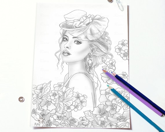 Coloring Page for Adult Girl in Flowers , Download Print and Color ,  Instant Download Greyscale PDF PNG JPEG