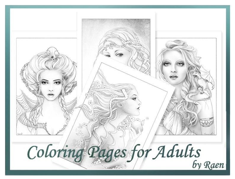 Coloring Pages Set for Adults by Raen Digital Printable | Etsy