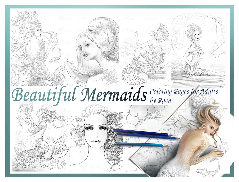 - Digital Coloring Pages Mermaid Fantasy Beauty Portrait Etsy