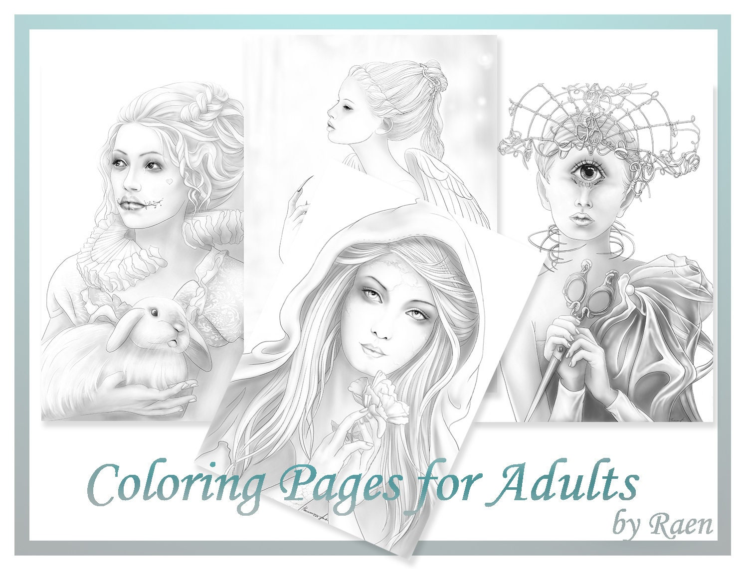 halloween coloring pages for adults digital stamps 4 coloring printable by raen coloring book angel evil clown cyclop witch pdf