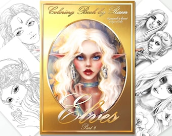 Coloring Book by Raen - Elves (part 2) -  Printable Greyscale and Lineart Coloring Pages , DIGI art,  Digital Coloring Book for Adults