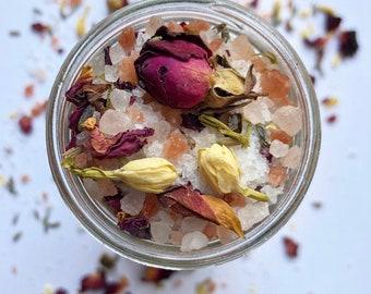 LOVE SOAK therapeutic bath salts , botanical bath soak , all natural bath salts , gift for her , aphrodisiac , aromatherapy bath , mineral