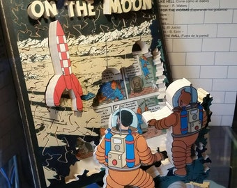 Tin Tin, Explorers on the Moon, Life Puzzle jigsaw. Hand crafted wooden multi-dimensional jigsaw puzzle