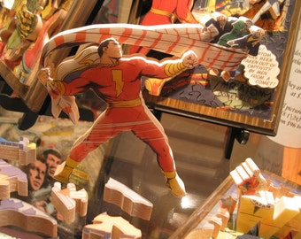 Captain Marvel, Comic Book cover, 'Life Puzzle' #3D #Custom #Wooden #Hand Crafted #Made in UK #Bespoke #Personalized #Three Dimensional