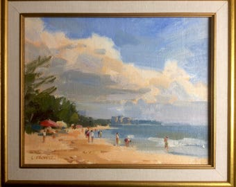 Leslie Frontz Original Oil Painting Shell Collectors Impressionist Beach and Ocean Scene North Carolina Artist